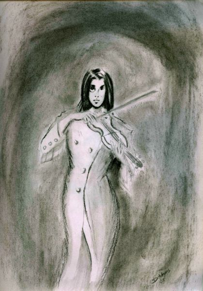 Violinist_Graphite and Charcoal_By D. Adams_2-2-2008 - Copy