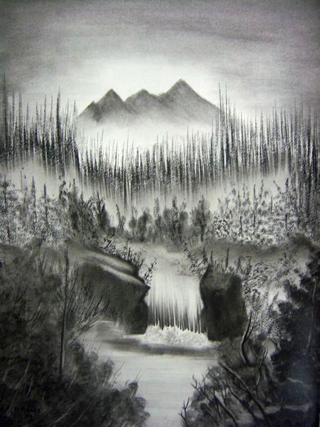 Line Drawing Waterfall : Waterfalls adamsart