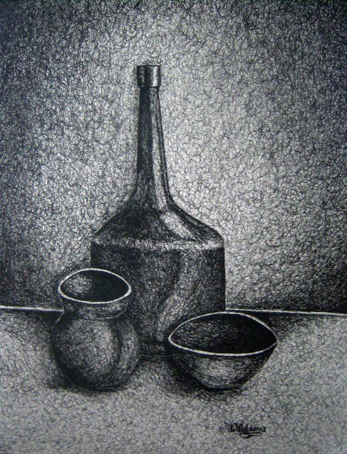 Scribble Drawing Still Life : Pen and ink still life adamsart
