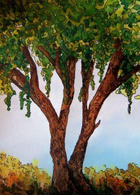 P_Early Fall Tree_watercolors_ink_dja_07-29-2012