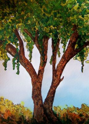 P_Early Fall Tree_watercolors_ink_dja_07-29-2012
