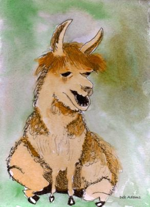 P_Big Butte Llama_watercolors_4x6_dja_8-8-2011