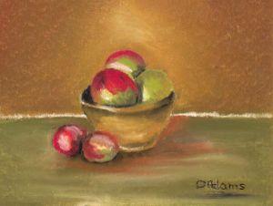 Clay Bowl of Apples2_oil pastels_4x6_dja_8-8-20111 - Copy