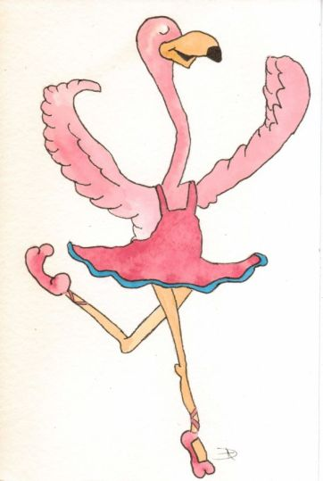 Dancing Flamingo-watercolor-da-2012-12-08