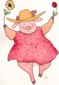Dancing Pig-watercolor-da-2012-12-08