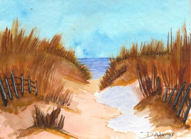 Ocracoke Sand Dunes_watercolors_da_9-8-2012