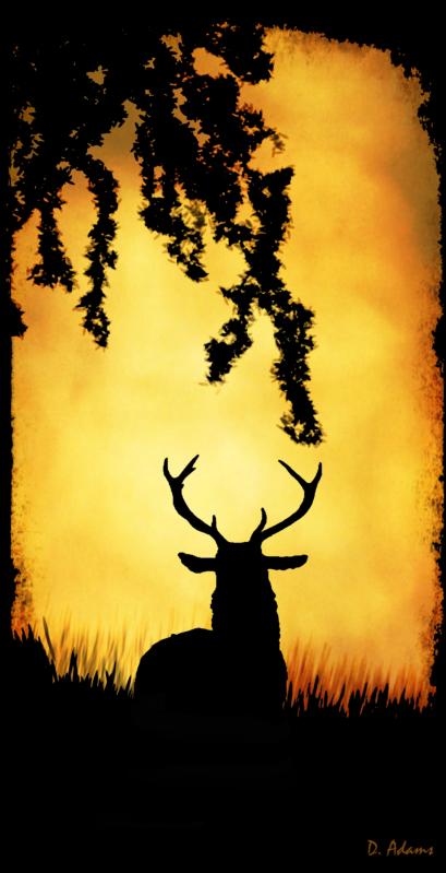 Silhoutte-nature-deer