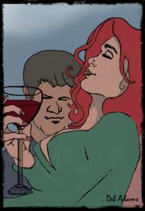Drinking Wine-2013-06-14-framed-signed - Copy