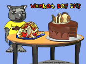 Wombie_Wombat Day 2013-10-12-blue background