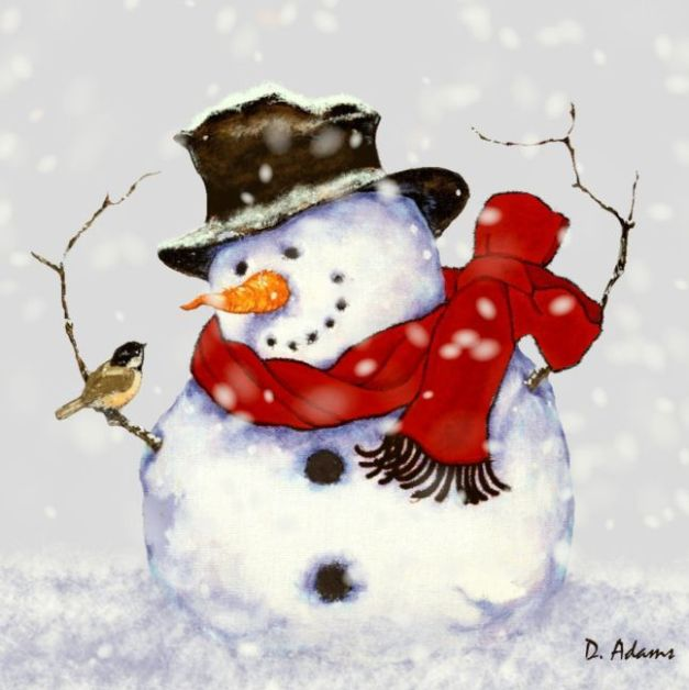 snowman and bird--2014-01-21 - Copy