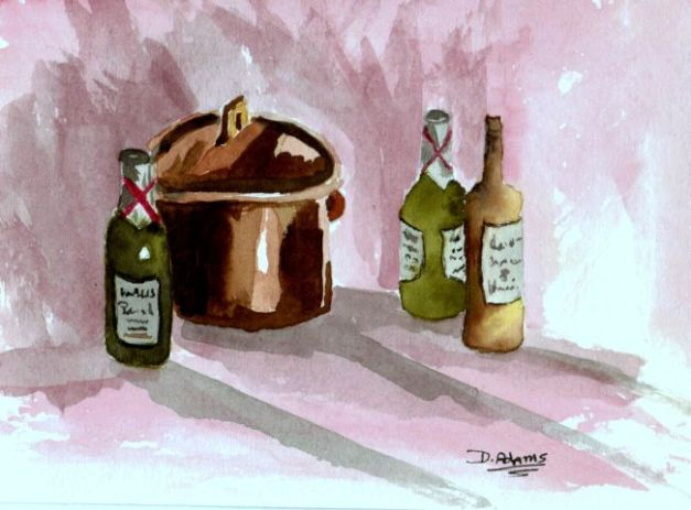 bottles and bent pot