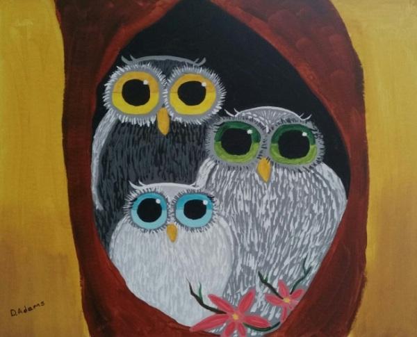acrylics-owl-family